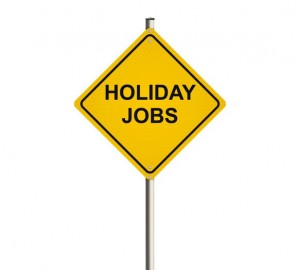 Holiday jobs. Road sign. screen